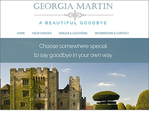 Georgia Martin - Living Funerals and final gatherings.  Website by Elizabeth Walsh